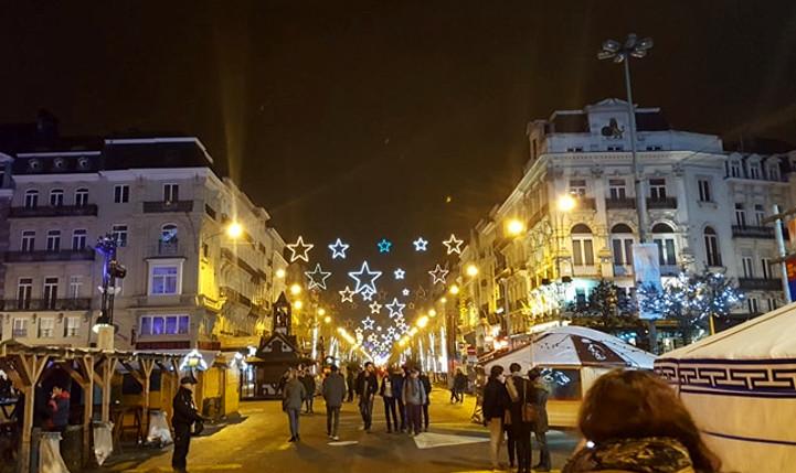Place de la Bourse à Bruxelles à Noel